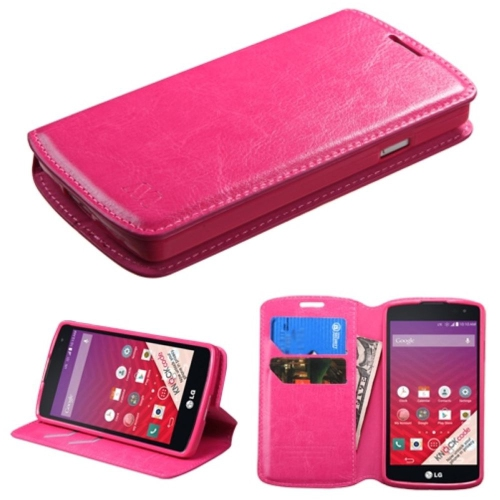Insten Flip Leather Fabric Case w/stand/card slot For LG Optimus F60 - Hot Pink