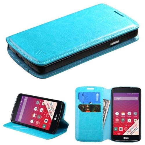 Insten Flip Leather Fabric Cover Case w/stand/card slot For LG Optimus F60 - Blue