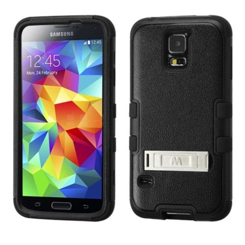 Insten Tuff Hard Hybrid Silicone Case w/stand For Samsung Galaxy S5 - Black