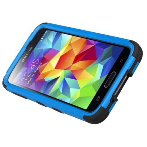 Insten Tuff Hard Hybrid Silicone Cover Case w/stand For Samsung Galaxy S5 - Blue/Black