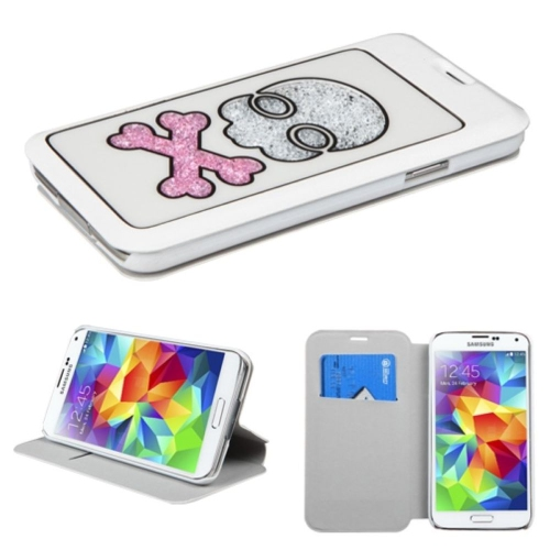 Insten Skull Folio Leather Fabric Cover Case w/stand/card holder For Samsung Galaxy S5 - White