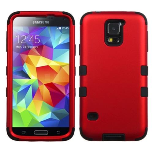 Insten Tuff Hard Dual Layer Rubber Silicone Case For Samsung Galaxy S5 - Red/Black