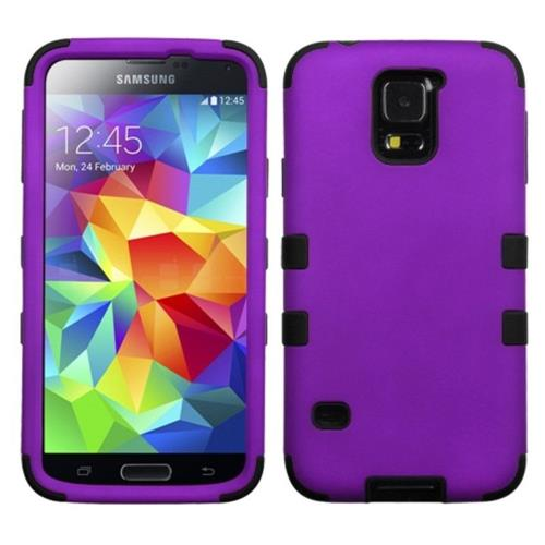 Insten Tuff Hard Dual Layer Silicone Cover Case For Samsung Galaxy S5 - Purple/Black