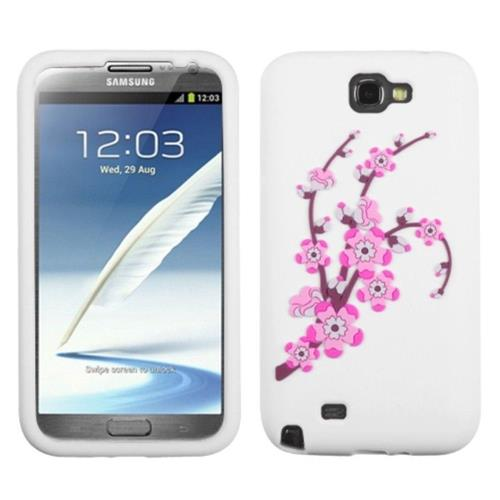 Insten Spring Flowers Hard Bling Cover Case For Samsung Galaxy Note II - Pink/White