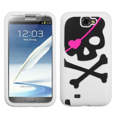 Insten Skull Rubber Case For Samsung Galaxy Note II - White/Black