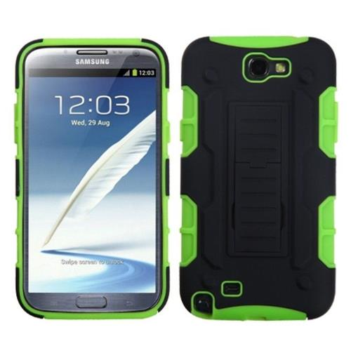 Insten Car Armor Hybrid Plastic Silicone Case w/stand For Samsung Galaxy Note II, Black/Neon Green