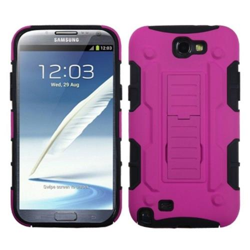 Insten Car Armor Hard Plastic Silicone Case w/stand For Samsung Galaxy Note II, Pink/Black