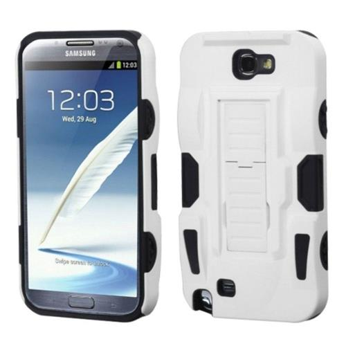 Insten Advanced Armor Hard Plastic Silicone Case w/stand For Samsung Galaxy Note II, White/Black