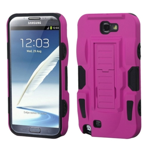 Insten Advanced Armor Hybrid Rubber Silicone Case w/stand For Samsung Galaxy Note II, Pink/Black