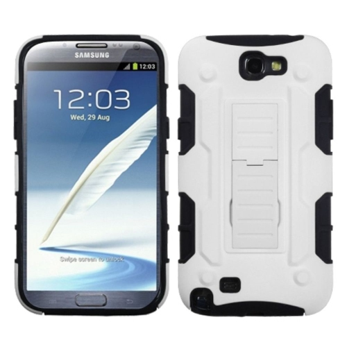 Insten Car Armor Hard Plastic Silicone Cover Case w/stand For Samsung Galaxy Note II, White/Black