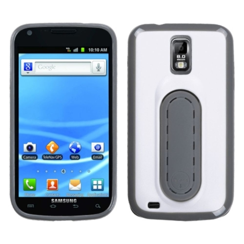 Insten TPU Cover Case w/stand For Samsung Galaxy S2 Hercules T989 - White/Gray