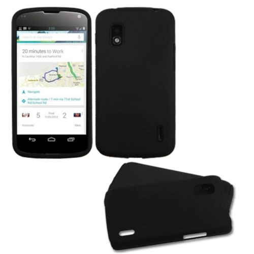 Insten Fusion Hard Hybrid Rubber Silicone Cover Case For LG Google Nexus 4 E960 - Black