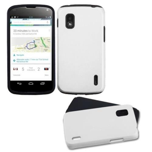 Insten Fusion Aluminum Hybrid Silicone Case For LG Google Nexus 4 E960 - White/Black