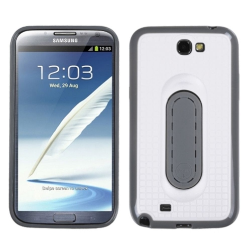 Insten Checker Gel Cover Case w/stand For Samsung Galaxy Note II - White/Gray