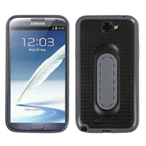 Insten TPU Cover Case w/stand For Samsung Galaxy Note II - Black/Gray