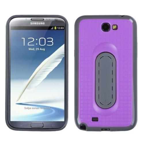 Insten Checker TPU Cover Case w/stand For Samsung Galaxy Note II - Purple/Gray