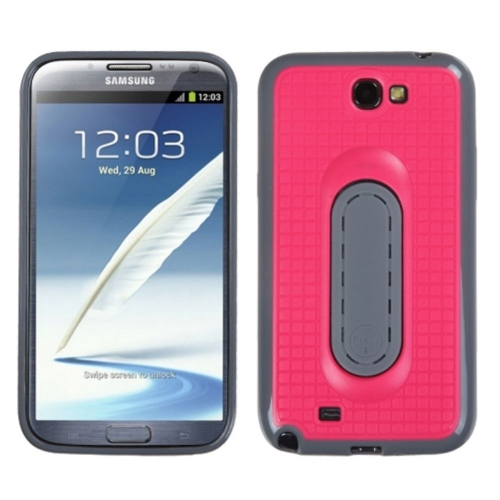 Insten Checker TPU Case w/stand For Samsung Galaxy Note II - Hot Pink/Gray