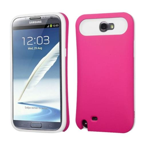 Insten Hard Silicone Cover Case w/card holder For Samsung Galaxy Note II - Hot Pink/White