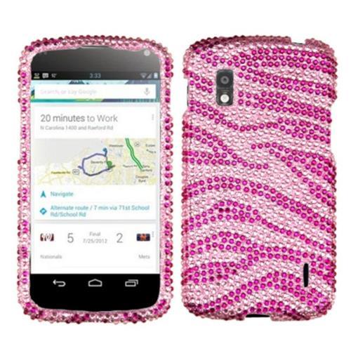 Insten Zebra Hard Rhinestone Cover Case For LG Google Nexus 4 E960 - Hot Pink/Pink