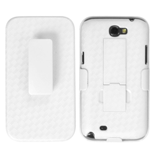 Insten Weave Hard Hybrid Rubber Case w/stand/Holster For Samsung Galaxy Note II - White