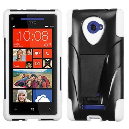 Insten Fitted Soft Shell Case for HTC Windows Phone 8X - White;Black