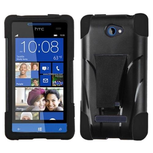 Insten Hard Dual Layer Plastic Silicone Case w/stand For HTC Windows Phone 8S - Black