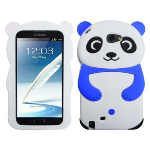 Insten Panda Rubber 3D Cover Case For Samsung Galaxy Note II - White/Blue