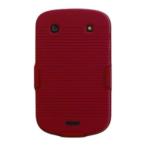 Insten Hard Rubber Cover Case w/Holster For BlackBerry Bold 9900/9930 Bold Touch 9900/9930 - Red