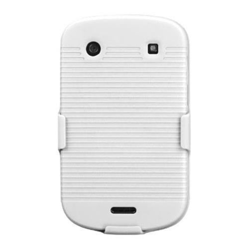 Insten Hard Rubberized Case w/Holster For BlackBerry Bold 9900/9930 Bold Touch 9900/9930, White