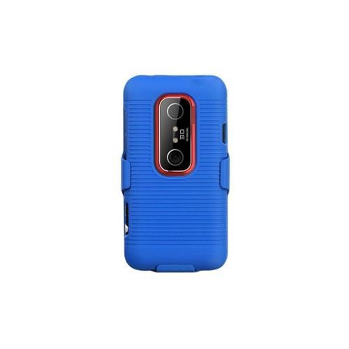 Insten Hard Rubber Coated Case w/Holster For HTC EVO 3D - Blue
