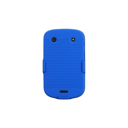 Insten Hard Rubber Coated Case w/Holster For BlackBerry Bold 9900/9930 Bold Touch 9900/9930 - Blue