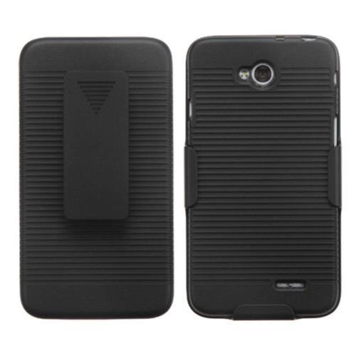 Insten Hard Rubberized Case w/Holster For LG Optimus Exceed 2 VS450PP Verizon/Optimus L70 - Black