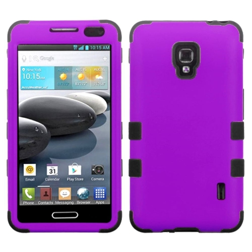 Insten Tuff Hard Hybrid Rubber Silicone Cover Case For LG Optimus F6 MS500 - Purple/Black