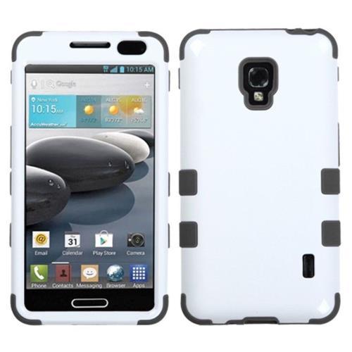 Insten Tuff Hard Dual Layer Silicone Case For LG Optimus F6 MS500 - White/Black