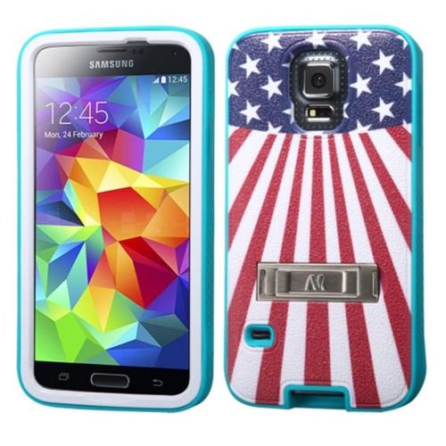 Insten Verge US National Flag Hard Matte Silicone Cover Case w/stand For Samsung Galaxy S5 /Red
