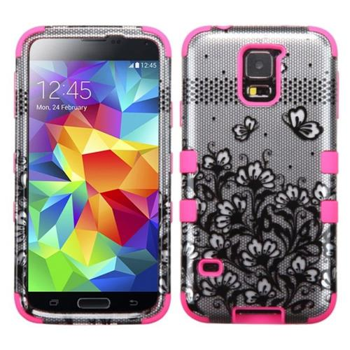 Insten Tuff Lace Flowers Hard Hybrid Silicone Case For Samsung Galaxy S5 - Black/Pink