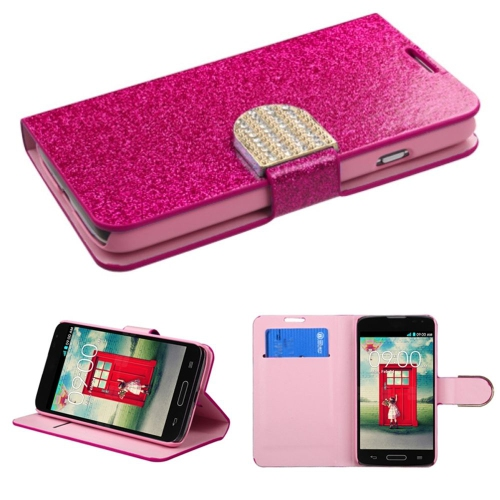 Insten Flip Leather Case w/stand For LG Optimus Exceed 2 VS450PP Verizon/Optimus L70, Hot Pink/Pink