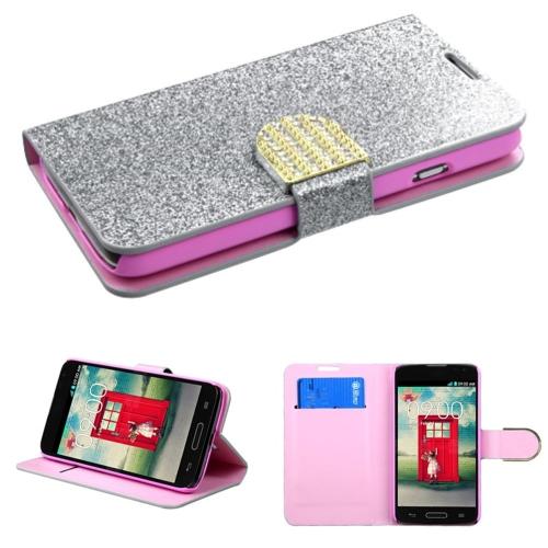 Insten Silver Leather Flip Wallet Case Bling Belt For LG Optimus L70 Exceed 2 Dual D325