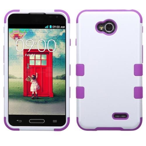 Insten Hard Silicone Cover Case For LG Optimus Exceed 2 VS450PP Verizon/Optimus L70, White/Purple