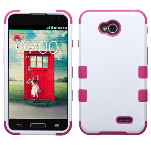 Insten Hard Hybrid Silicone Case For LG Optimus Exceed 2 VS450PP Verizon/Optimus L70, White/Hot Pink