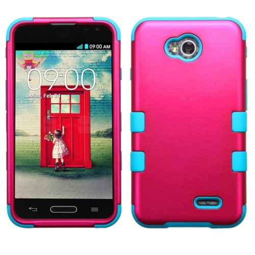 Insten Hybrid Metallic Case For LG Optimus Exceed 2 VS450PP Verizon/Optimus L70, Hot Pink/Turquoise