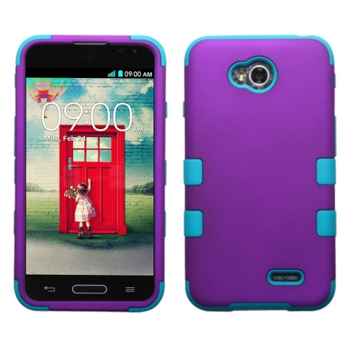 Insten Hard Hybrid Rubber Case For LG Optimus Exceed 2 VS450PP Verizon/Optimus L70, Purple/Turquoise