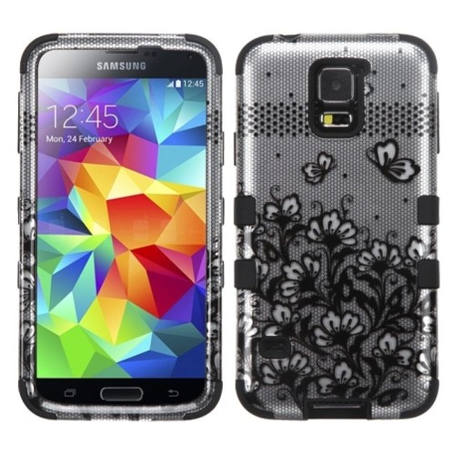 Insten Tuff Lace Flowers Hard Hybrid Silicone Case For Samsung Galaxy S5 - Black