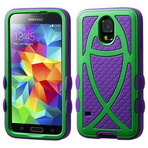 Insten Ichthys Christian Fish Hard Rubberized Silicone Case For Samsung Galaxy S5, Purple/Neon Green