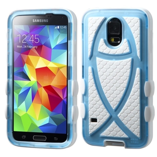 Insten Fitted Soft Shell Case for Samsung Galaxy S5 - White;Light Blue