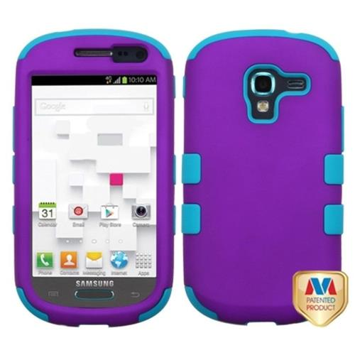 Insten Tuff Hard Dual Layer Rubber Silicone Case For Samsung Galaxy Exhibit T599 - Purple/Turquoise