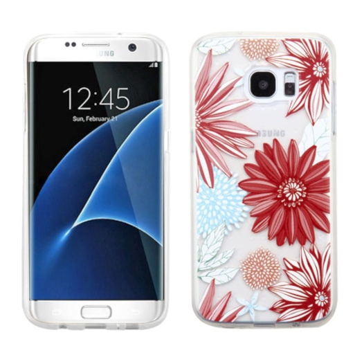 Insten Spring Daisies TPU Case For Samsung Galaxy S7 Edge - Red