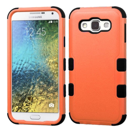 Insten Tuff Hard Dual Layer Rubber Silicone Cover Case For Samsung Galaxy E5 - Orange/Black