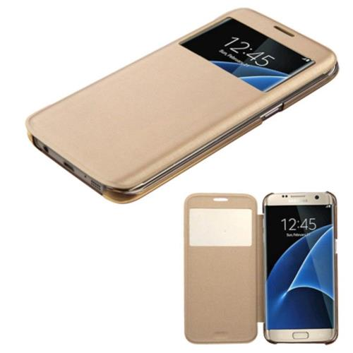 Insten Folio Leather Fabric Case For Samsung Galaxy S7 Edge - Gold