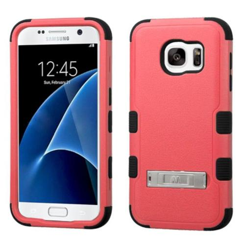 Insten Hard Dual Layer Rubber Coated Silicone Cover Case w/stand For Samsung Galaxy S7 - Pink/Black